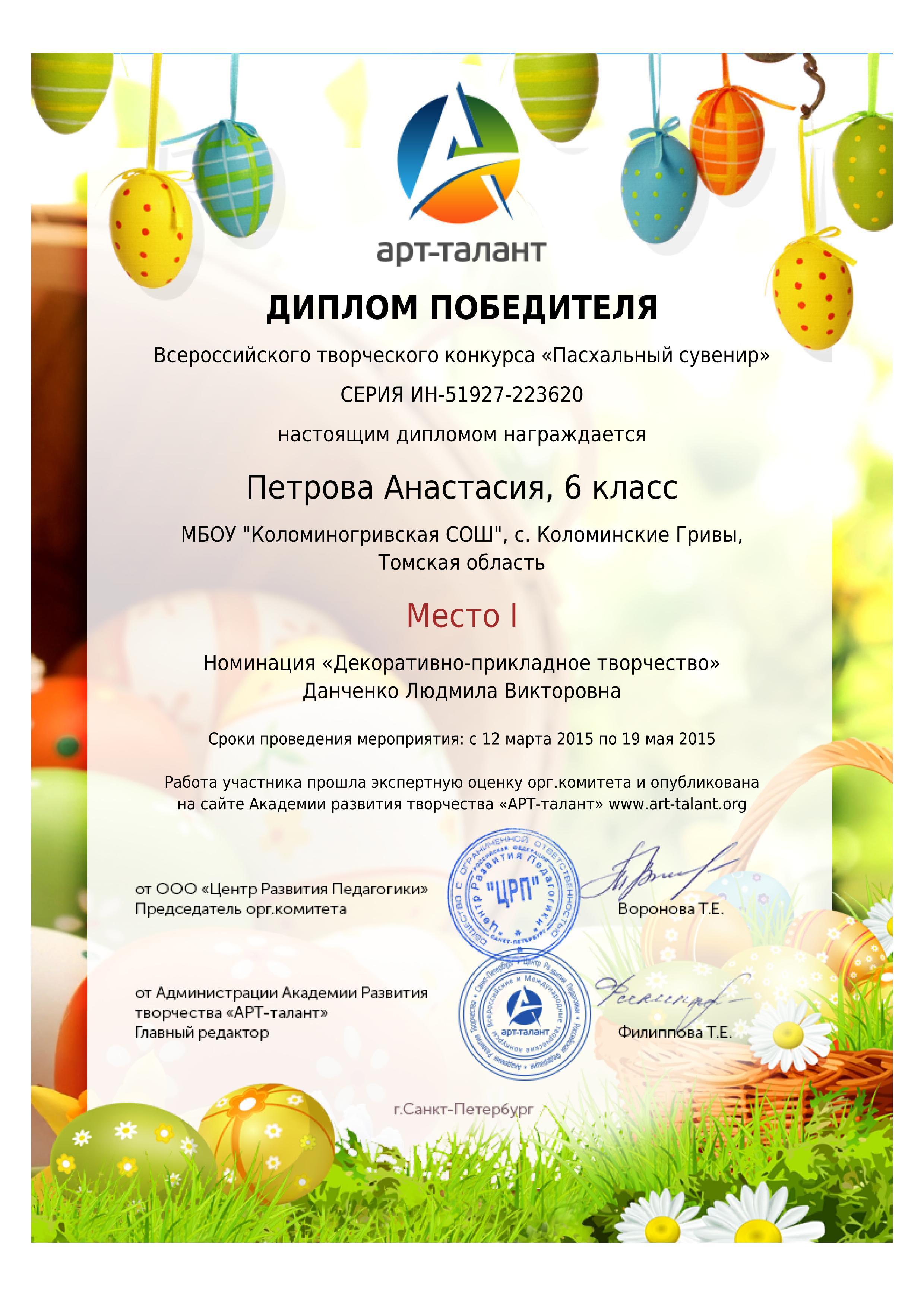 Грамота за участие в конкурсе пасхальное яйцо